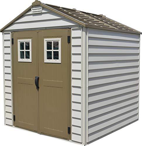 Duramax StoreMax Gartenhaus, aus Kunststoff, 2,1 x 2,1 m, Braun/Braun/einfach zu montieren, stabile Metalldachkonstruktion, feuerfest, Wind- und schneefestet und wartungsfrei -