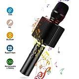 Bluetooth Karaoke Mikrofon, Mbuynow Drahtloses Karaoke Microphon mit Selfiestick TWS Technologie Tragbar Mikrofon für Kinder Kabellose KTV Player Lautsprecher für PC iPhone iPad Android(schwarz)