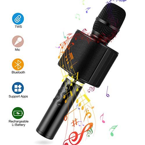 Microfono Karaoke Bluetooth Wireless, Mbuynow Doppio Microfono TWS Wireless, Extendable Selfie Stick 5 in 1 Doppio Altoparlante per Registrazione Vocale e Vocale, Party, Casa, Podcast, Nero