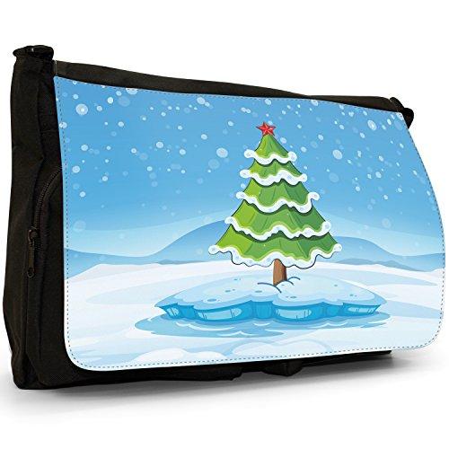 Joyful Christmas Time in neve Grande borsa a tracolla Messenger Tela Nera, scuola/Borsa Per Laptop Tree With Shiny Red Star