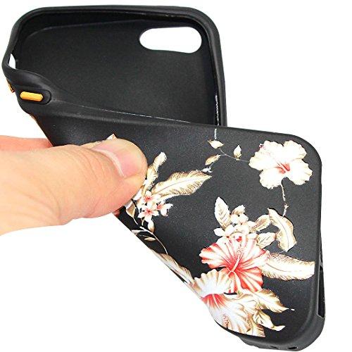 Schutzhülle für iPhone 5, iPhone SE Silikon Case, Rosa Schleife Ulta Slim Dünn Schwarz Silikon Backcover Blume Muster Handy Hülle mit Matell Button für iPhone 5S / SE / 5 6-style