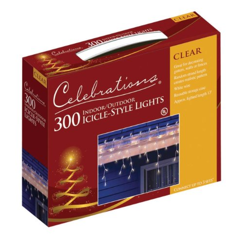 Celebrations 14084W-71 Mini Eiszapfen Lichter-Set 13' 300 klare Lichter - Mini-eiszapfen-lichter