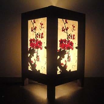 KJ44 Asie orientale Arbre cerisier japonais Sakura Lampe de Table de chevet en bois Abat-jour