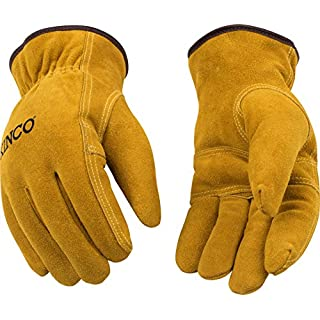 Kinco 51PL-L-1 Full suede cowhide, Easy-On cuff with elastic wrist, Ergonomic keystone thumb, Pile thermal lining, Size: L