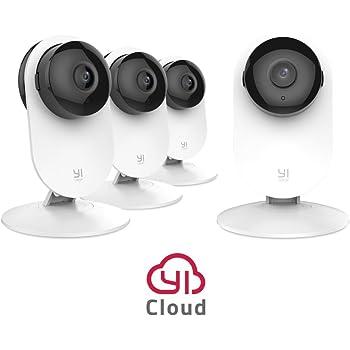 YI Caméra de Sécurité Caméra de Surveillance 1080p Full HD 4-en-1/Lot de 4 Caméras IP Espion/Bébé Moniteur/Alarme de Maison - Blanche