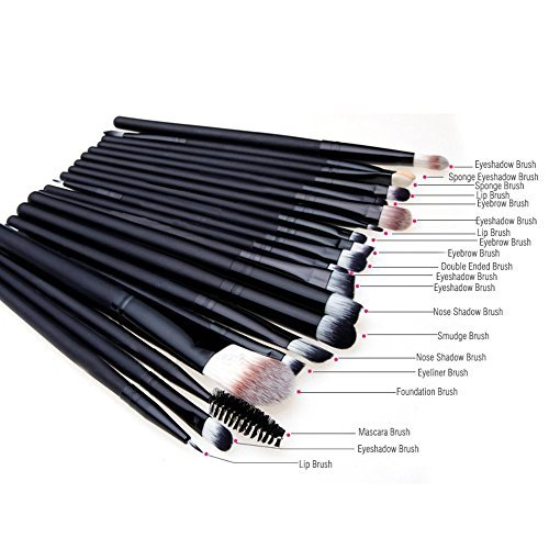 Tailcas� Professional 20 pcs Makeup Brush Kit Eyebrow Shadow Blush Eyeshadow Eyeliner Lip Make Up Brushes Set, Especially Designed for Girls / Teens / Women / Ladies - (20 pcs Black)