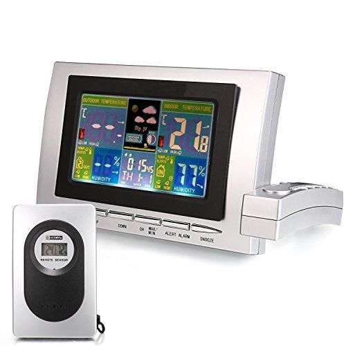 Funkwetterstation Farbdisplay, Hygrometer Digital Thermometer Innen und Außen mit Funktionen Zeitanzeige/ Aussen-Innentemperaturmessung/ Luftfeuchtigkeit (Wettervorhersage-uhr)