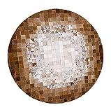 WSX Z Rindsleder Teppich   Runder Teppich für Schlafzimmer   Teppiche Handnaht Naturleder - 3 Farben (Farbe : #1, größe : Diameter120cm)