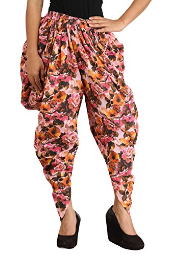 Dhoti Pants for Girls & Women in Cotton - Multicolour Printed Floral Dhoti Pants in Harem Style - Free Size ( Waist: 26 to 44 inches) Dhoti Pants for Girls - Dhoti Pants for Ladies - Traditional Harem