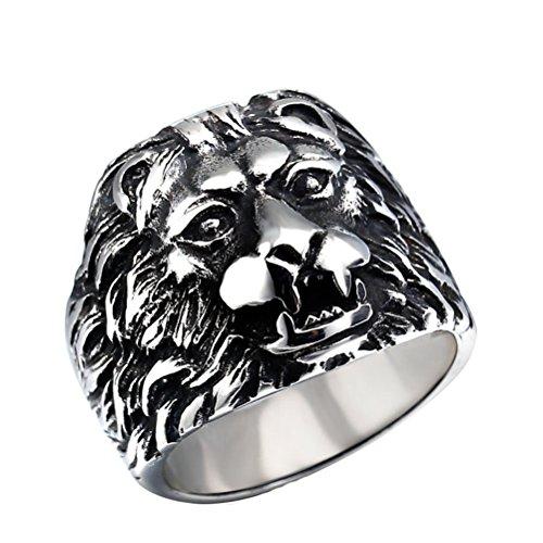 HIJONES Herren Edelstahl Lion King Ring Gothic Biker Silber Schwarz Größe 60 Herren-lion-ringe Aus Edelstahl