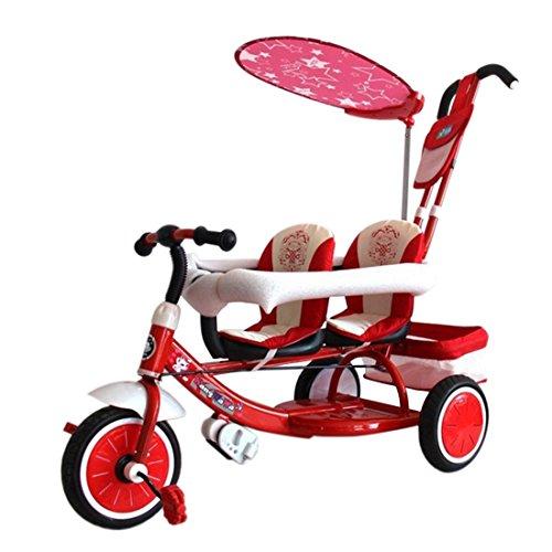 Preisvergleich Produktbild Beautylife66 Dreirad Kinderdreirad 2 Sitze Fahrrad Zwilling Kleinkinder Dreiräder Schieber Rot
