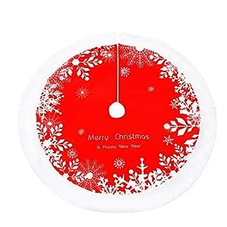 WERNNSAI Faldas para el árbol de Navidad – Roja Falda de Decoración para árbol de Navidad de Piel Sintética Blanca Suministros de Fiesta de Navidad, 122 cm de Diámetro