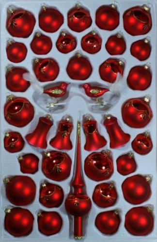 nden Glocken rot glanz/matt 39 Teile Christbaumschmuck Weihnachtsschmuck mundgeblasen,handdekoriert Lauschaer Glas das Original ()