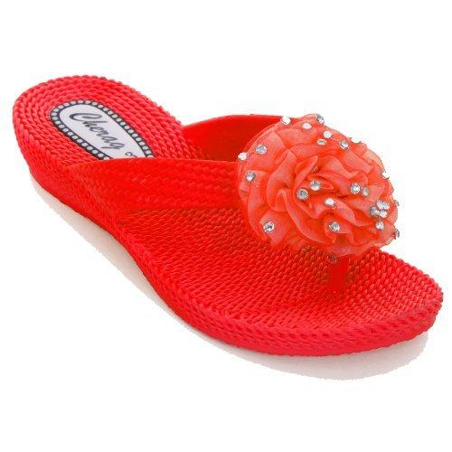FANTASIA BOUTIQUE® femme tongs sandalettes talon bas fleur strass confortable
