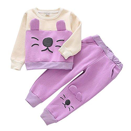 Mode Baby Mädchen Neugeborenes Bekleidungssets Kleidung Baby Kleidung Set Mädchen Katze Langarm T-Shirt Sweatshirt Kinder Tops + Pants Set Felicove