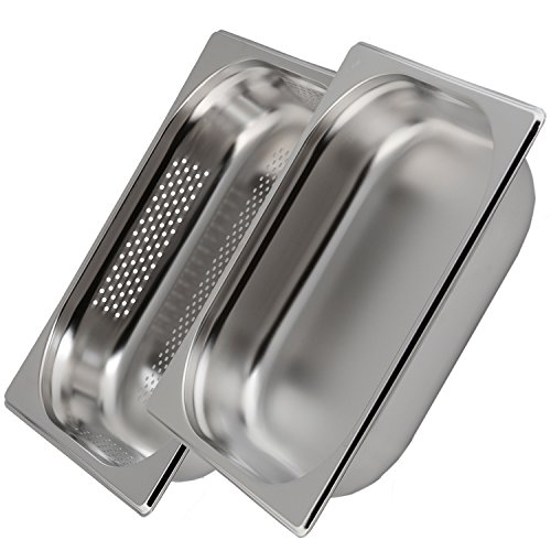 Greyfish 2 Stück GN-Behälter SET :: 1x gelocht  1x ungelocht :: für Gaggenau  Miele  Siemens Dampfgarer (Edelstahl  Spülmaschine geeignet, Gastronorm 12, B 32,5 x T 26,5 x H 6,5 cm)