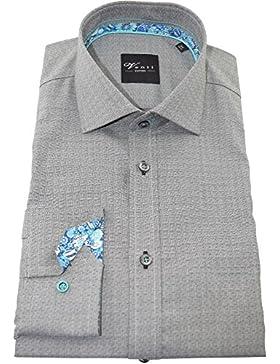 Venti Herrenhemd slimfit anthrazites Karohemd langarm Kent Kragen ohne Tasche Kollektion Size 46