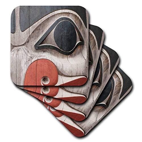 3dRose Totem Poles, Haida Heritage Centre, Kay Llnagaay, Haida Gwaii, Canada. Weiche Untersetzer, 4 Stück (CST_207959_1)