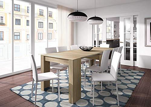 Habitdesign 004580F  Tavolo Consolle Estensibile, 50 x 90 x 78 H cm, Rovere Spazzolato, Melamina, plastica;legno, rettangolare