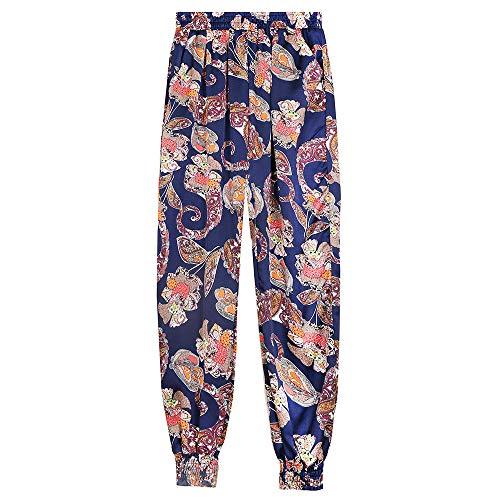 RUIMENGMENG Trousers Leinenhose Frau Elastische Taille Womens Casual Sommerhose Hose Ganzkörperansicht Shorts Capri A02 L -