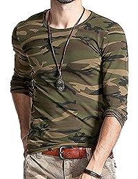 Lionroar Men's Army Round Neck Full Sleeve Camouflage T- Shirt