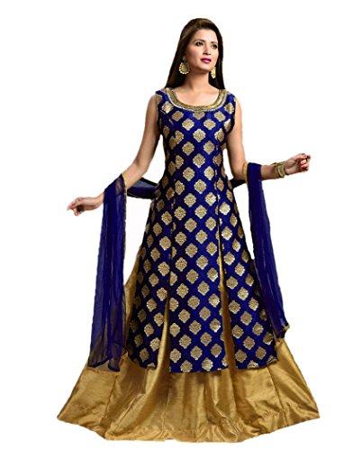 Jsv Fashion Women's Cotton Silk A-Line Salwar Suit Set (Thrimurti Royal Blue_Royal...