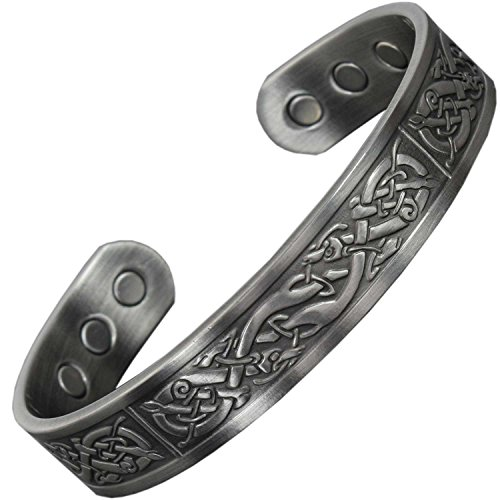 Herren Magnetschmuck Armband Zinnbeschichtet Kupfer Armbänder für Arthritis Schmerzlinderung Magnetarmband Heilungs Armreif – Wikinger (VP, De) (L: Handgelenk 18,5-21cm)