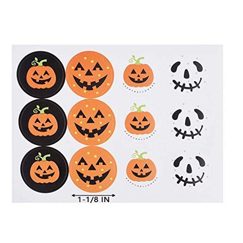 Kinder Kostüm Selbstgemacht Süße - Masrin Halloween-Kürbis-Aufkleber 120pcs, die Siegel DIY Süßigkeits-Geschenk-Umbauten Aufkleber neu verpacken (Mehrfarbig)
