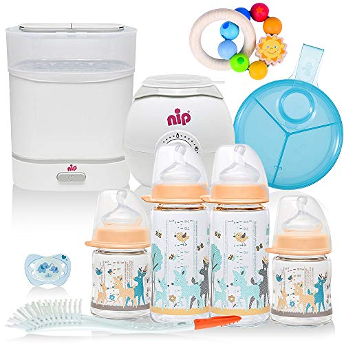 NIP® Girls All-in One Premium Mega Set mit Babyflaschen aus GLAS, Sterilisator (Dampfgarer), Flaschen-und Babykostwärmer, Milchportionierer, Flaschen ab Geburt