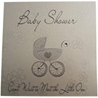 White Cotton Cards Baby Shower Pram Card (Silver)