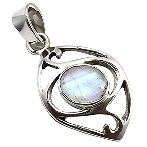 Unique Rainbow Moonstone Pendant 925 Sterling Silver 5.2 Carat Jeweller's