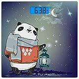 Escala de peso corporal digital de precisión Escala de baño de cristal templado ultra delgado de Panda Mediciones precisas del peso, Oso de panda con una bufanda en el exterior en la noche estrellada