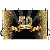Mehofoto Studio photo Booth Fond brillant Doré Paillettes 50ème Joyeux anniversaire fête Bannière toiles de fond pour la photographie