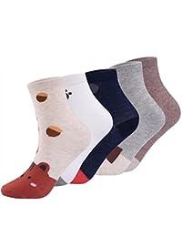 71851ea1f51 Abollria Chaussettes en Coton 5 Pack Thermiques Hiver Chaud Noël Chaussettes  Femme Adulte Dessin Animé Unisexe