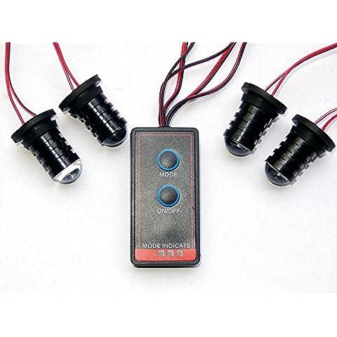 biaochi coche automático ultra slim LED 6modos de Flash 12V 4W peligro seguridad de emergencia Advertencia linterna parrilla Dash cubierta Barra de luz estroboscópica lámpara km606–4