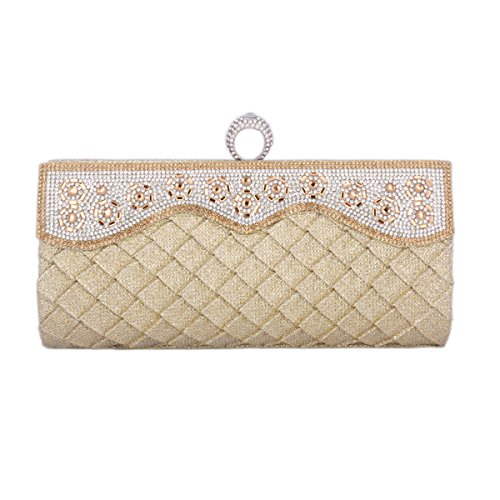 Damara® Schimmernd Damen Pailletten Strassstein Handtaschen Mit Falten Gold