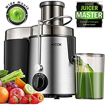 Aicok Centrifugeuse des Fruits et des Légumes,Centrifugeuse de bouche large,avec trois vitesses, anti-goutte, sans BPA