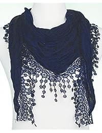 Mevina Damen Dreieckshalstuch Uni aus Baumwolle und Viskose Halstuch