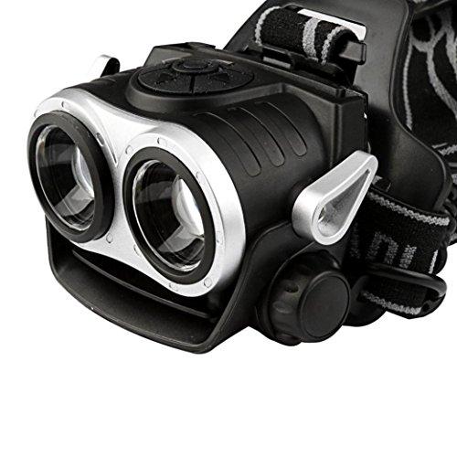 Scheinwerfer, BBring 10000Lm 2x T6 aufladbare 18650 LED-Scheinwerfer, Kopfleuchte, Taschenlampe, USB (Schlüsselanhänger Gürtel-hänger)