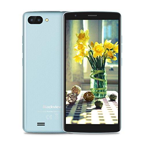 "Blackview A20 Android 8.0 Dual Sim Smartphone Ohne Vertrag, 18: 9 Full HD 5.5""Bildschirm 2.0MP Frontkamera + 5.0MP Dual RückseitenKameras, 1GB + 8GB, 3000mAh Batterie mit Guenstig 3G Handys Blau"