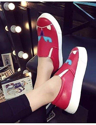 Chaussures Femme Shangyi - Mocassins - Décontractés - Bout Rond - Plateau - Similicuir - Noir / Rouge Noir