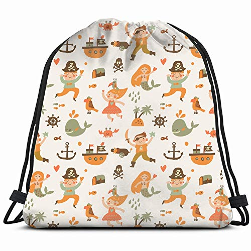 fjfjfdjk Lovely Boys Girls Pirate Costumes Cartoon People Drawstring Backpack Gym Sack Lightweight Bag Water Resistant Gym Backpack for Women&Men for Sports,Travelling,Hiking,Camping,Shopping Yoga