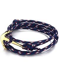 Vnox Bleu des femmes des hommes en acier inoxydable noir Nylon corde tressée Maritime Anchor Viking Wrap Bracelet,Or