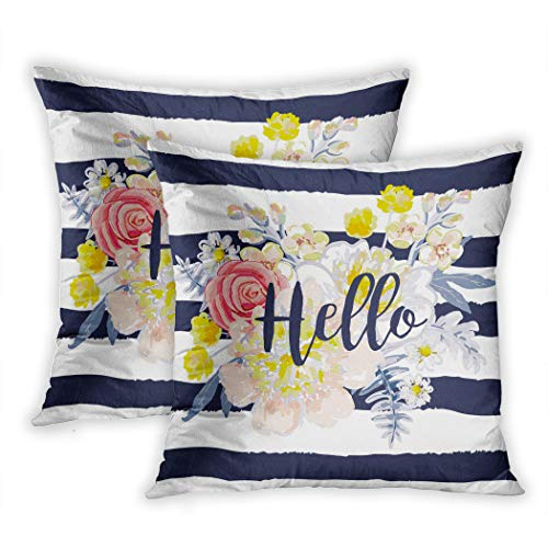 Old Country Roses Tee-set (Nekkzi Cushion Covers Set of Two Print Delicate Bouquet on The Striped Nautical for Tee with Message Hello Artwork Sofa Home Decorative Throw Pillow Cover 20x20 Inch Pillowcase Hidden Zipper)