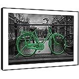 BFC522E gerahmte Bild Wand kunst- schwarz weiß grün Vintage Fahrrad Moderne Malerische Landschaft Wohnzimmer Schlafzimmer Stück Wohnkultur Leicht Hang Guide (86X61cm)