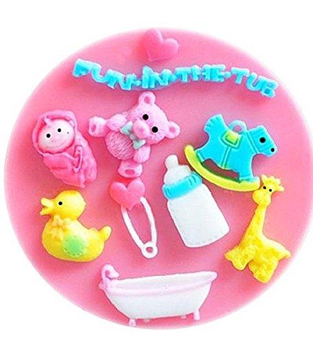 Inception Pro Infinite Stampo in Silicone per Uso Artigianale di Accessori per Bambini - Cavallo a Dondolo - Giraffa - Spilla - Vasca da Bagno - Cuore - Papera - Baby