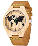 Reloj de madera de cuero, MUJUZE Reloj de brújula de bambú hecho a mano natural, Relojes de pulsera de hombre con correa de vaca marrón (Mapa de bambú)
