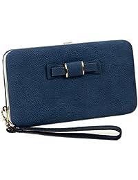 Okayji Women Girls Leather Bow Wallet Clutch