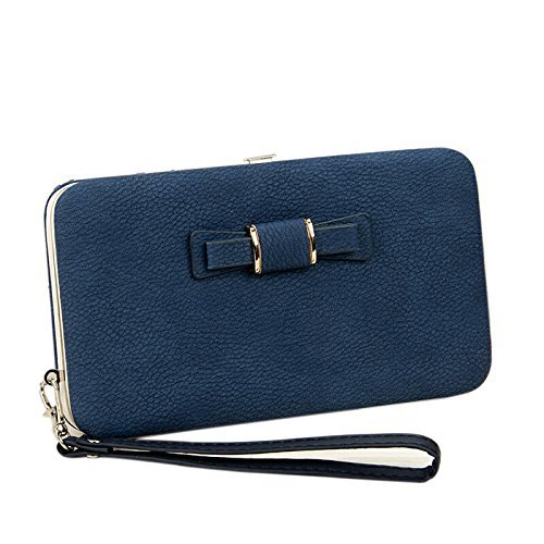 Okayji PU Leather Pouch Purse Cover for Cell Mobile Phones Leadies Women Wallet Clutch with Card Holders Money Bag & Mobile Wallet – Dark Blue