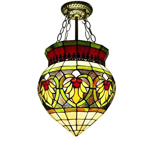 GJX Tiffany Style Pendel Lampe, Retro-Europa-Stil Buntglas Pendel Lichter, Barocke Anti-Kronleuchter...